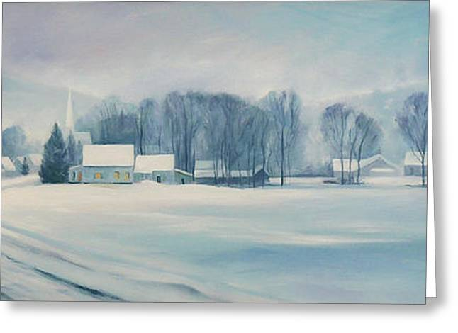 New England Snow Scene Greeting Cards - Road to Felchville Vermont Greeting Card by Nancy Griswold