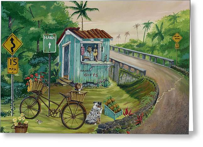 Ukelele Greeting Cards - Road to Hana Greeting Card by Bill Shelton