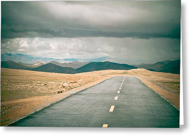 Road To Himalyas In Tibet Greeting Card by Raimond Klavins
