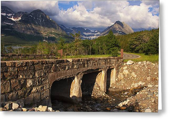 Sight See Greeting Cards - Road to Many Glacier Greeting Card by Mark Kiver