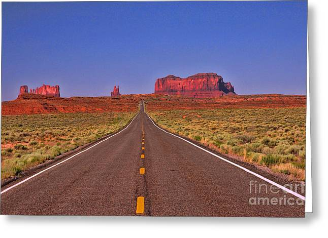 The Plateaus Greeting Cards - Road to Monument Valley Greeting Card by Allen Beatty