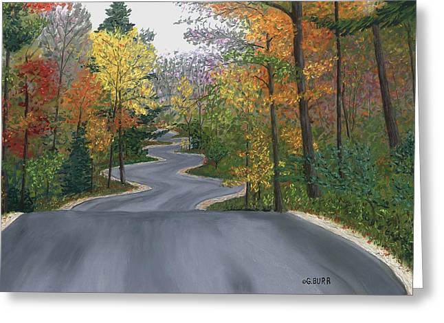 Fall Colors Pastels Greeting Cards - Road to Northport Greeting Card by George Burr