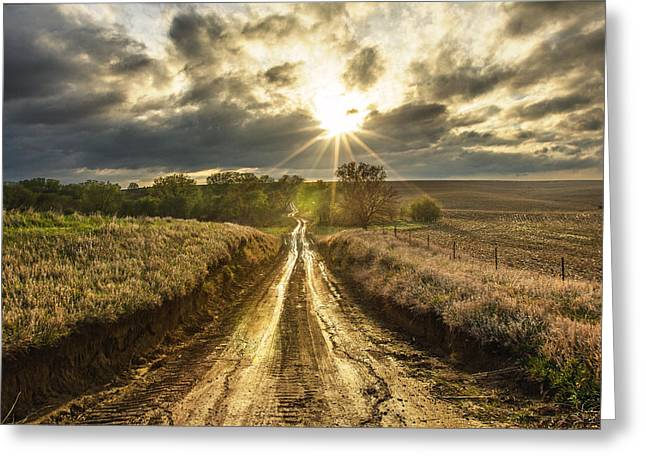 Dakota Greeting Cards - Road to Nowhere Greeting Card by Aaron J Groen