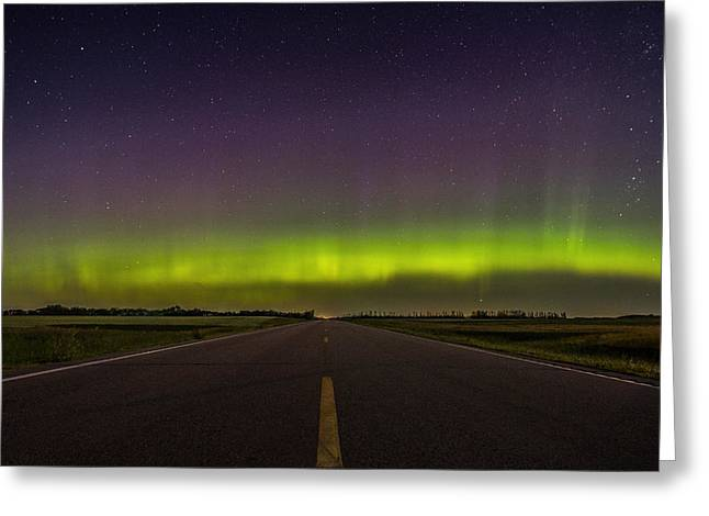 Nowhere Greeting Cards - Road to Nowhere - Aurora Borealis Greeting Card by Aaron J Groen