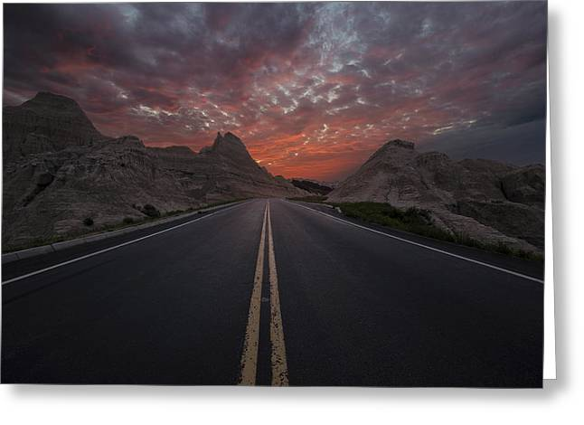 Nowhere Greeting Cards - Road to Nowhere Badlands Greeting Card by Aaron J Groen