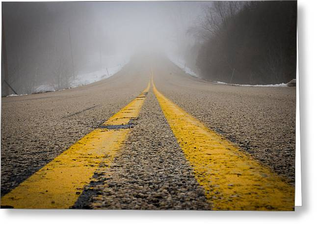 Yellow Line Greeting Cards - Road to Nowhere Greeting Card by Bill Pevlor
