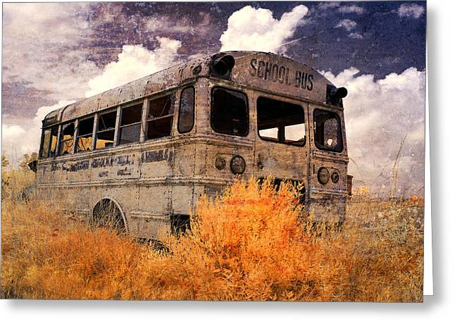 Rural School Bus Greeting Cards - Road To No Where Greeting Card by Cindy Archbell