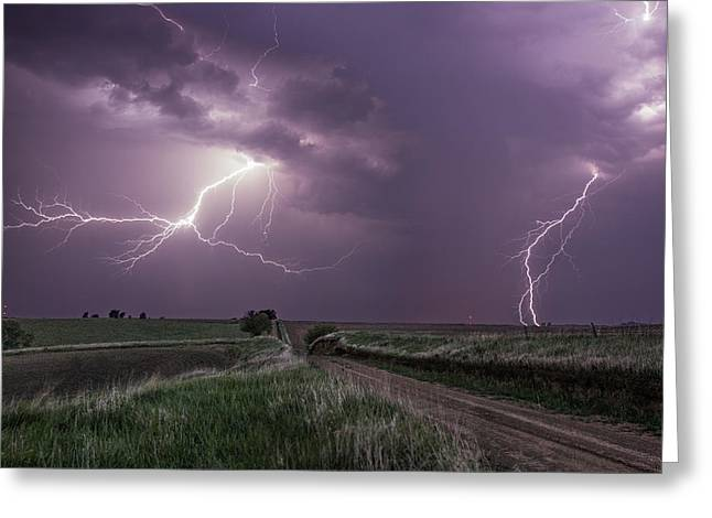Gravel Greeting Cards - Road to Nowhere - Lightning Greeting Card by Aaron J Groen