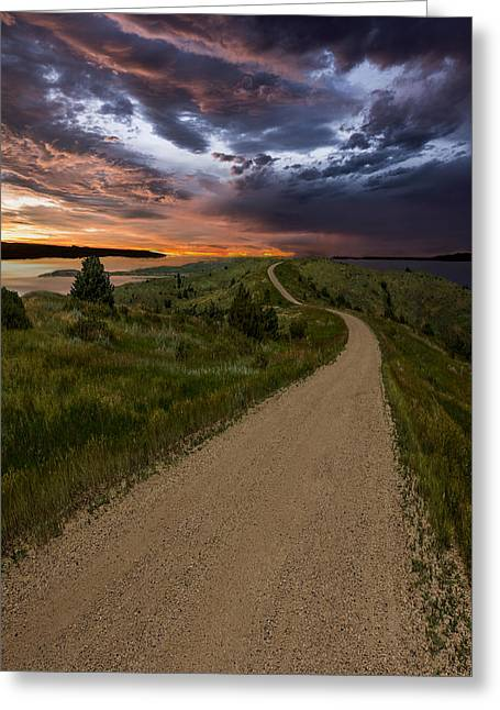 Nowhere Greeting Cards - Road to Nowhere - Stormy Little Bend Greeting Card by Aaron J Groen
