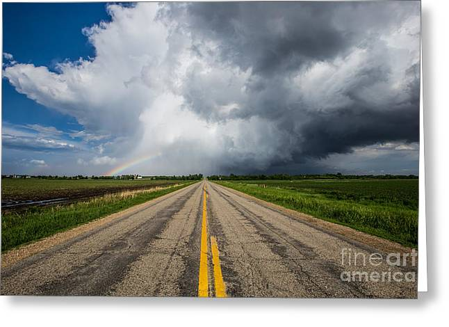 Nowhere Greeting Cards - Road to Nowhere  Supercell Greeting Card by Aaron J Groen