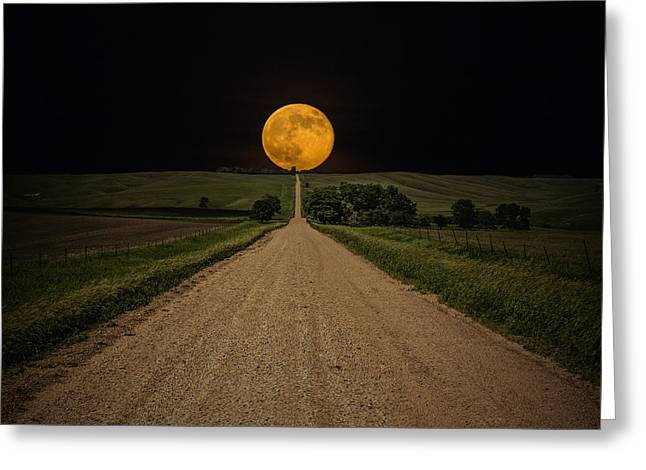 Dirt Road Greeting Cards - Road to Nowhere - Supermoon Greeting Card by Aaron J Groen