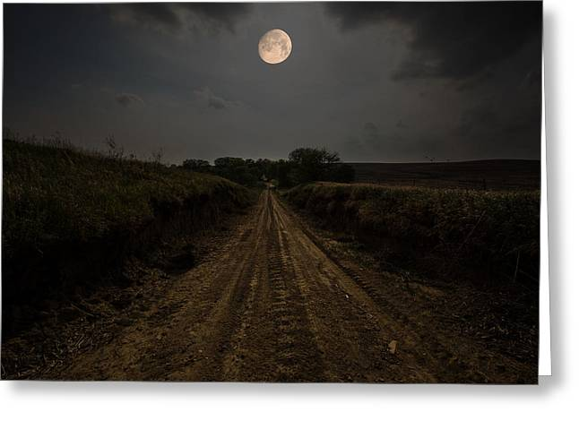 Wax Greeting Cards - Road To Nowhere - Waxing Gibbous Moon Greeting Card by Aaron J Groen