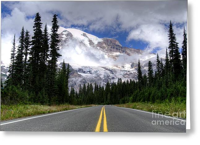 Paradise Road Greeting Cards - Road to Paradise Greeting Card by Deby Dixon