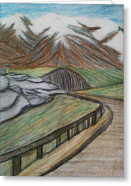 Winter Roads Drawings Greeting Cards - Road to Sky Lodge Greeting Card by Christine Degyansky