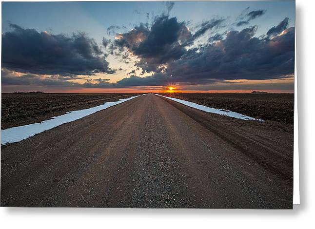 Nowhere Greeting Cards - Road to Spring Greeting Card by Aaron J Groen