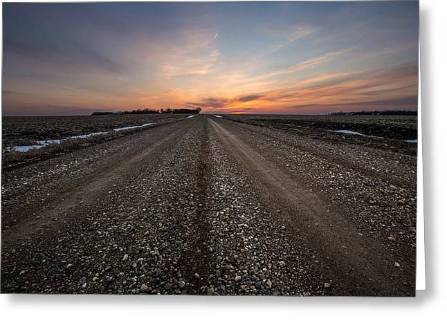 Canon Greeting Cards - Road to Sunset Greeting Card by Aaron J Groen