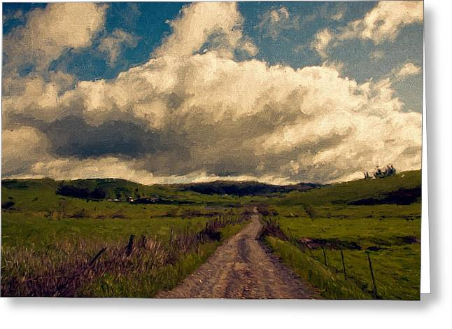 Pastoral Mixed Media Greeting Cards - Road to the Clouds. Greeting Card by John K Woodruff