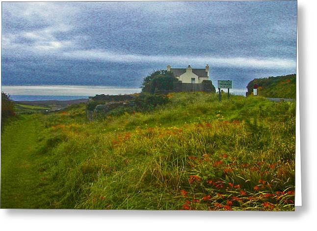 Roadway Greeting Cards - Road to the Cottage - Isle of Man Greeting Card by Lenore Senior and Constance Widen