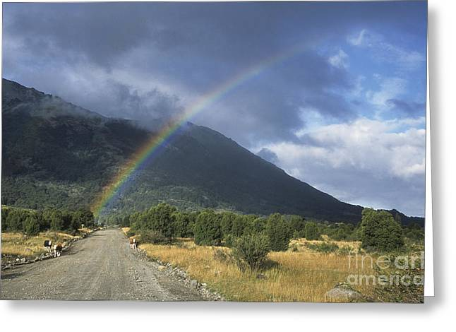 Mountain Road Greeting Cards - Road to the End of the Rainbow Greeting Card by James Brunker