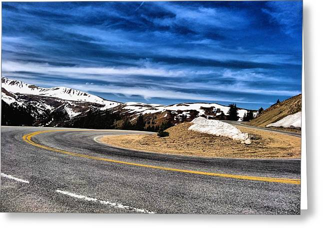 Snow Capped Greeting Cards - Road To The Mountains Greeting Card by Dan Sproul