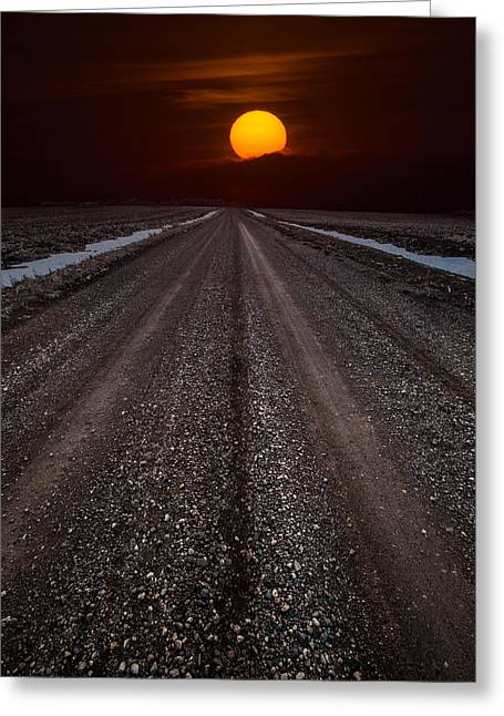 Nowhere Greeting Cards - Road to the Sun Greeting Card by Aaron J Groen