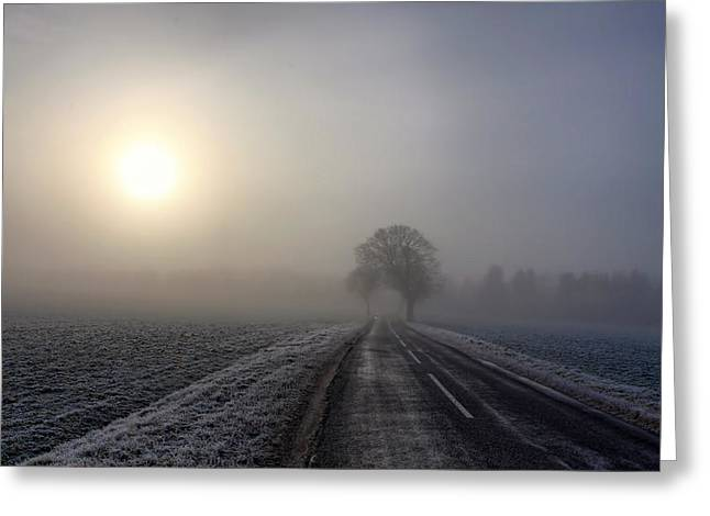 Green Day Greeting Cards - Road to winter Greeting Card by Kent Mathiesen