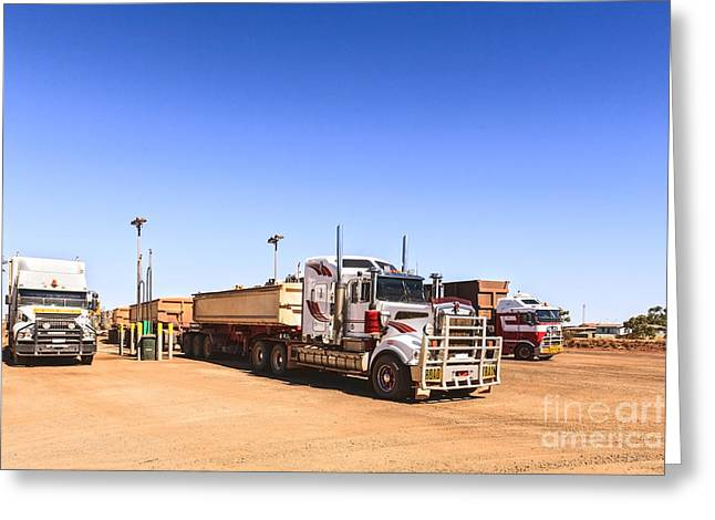 Refuelling Greeting Cards - Road Trains Refuelling Greeting Card by Colin and Linda McKie