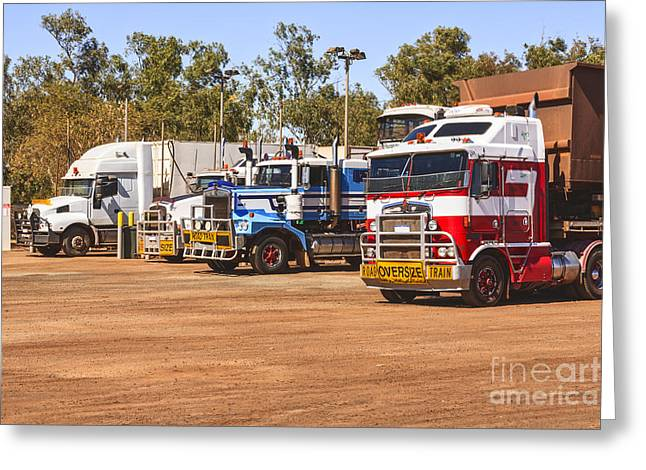 Diesel Greeting Cards - Road Trains Taking on Gas or Diesel Greeting Card by Colin and Linda McKie