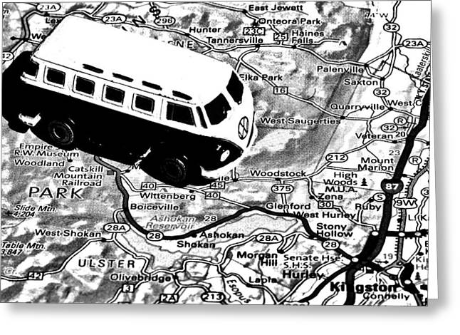 Hippie Volkswagon Greeting Cards - Road Trip - Woodstock Greeting Card by Benjamin Yeager