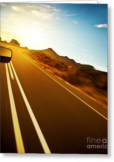 Scenic Drive Greeting Cards - Road trip Greeting Card by Anna Omelchenko
