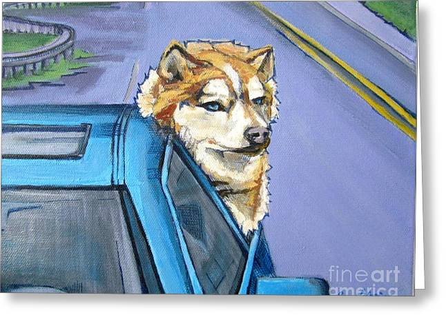 Husky Drawings Greeting Cards - Road-Trip - Dog Greeting Card by Grace Liberator