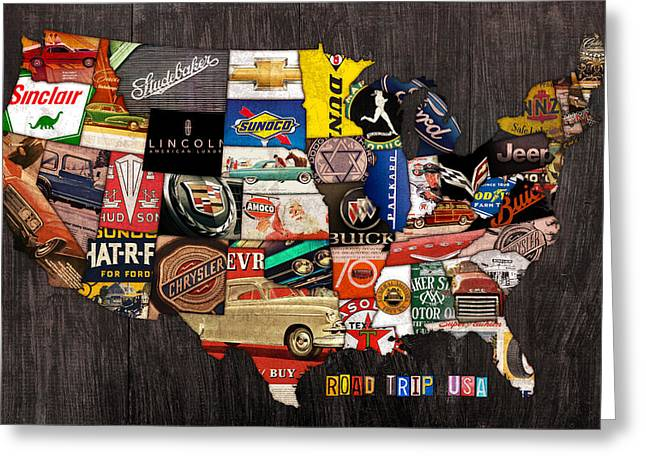 Usa Road Trip Greeting Cards - Road Trip Usa American Love Affair with Cars and the Open Road Greeting Card by Design Turnpike