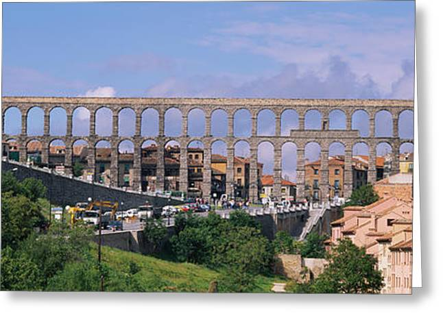 Civilization Greeting Cards - Road Under An Aqueduct, Segovia, Spain Greeting Card by Panoramic Images