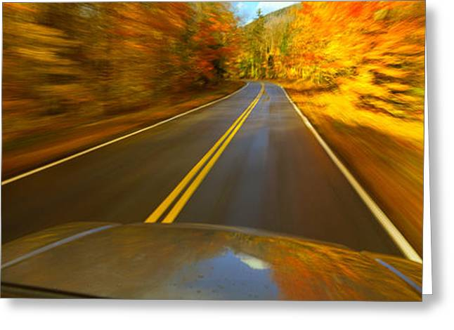 On The Way Greeting Cards - Road Viewed Through The Windshield Greeting Card by Panoramic Images