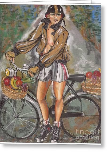 Helmet Pastels Greeting Cards - Road Warrior Greeting Card by Barbara Black