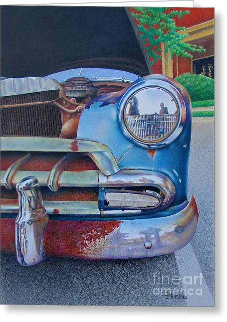 Rusted Cars Drawings Greeting Cards - Road Warrior Greeting Card by Pamela Clements