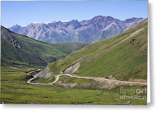 Mountain Road Greeting Cards - Road winding through mountainous central Kyrgyzstan Greeting Card by Robert Preston