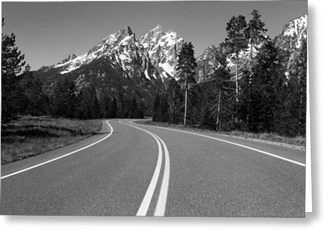 S Landscape Photography Greeting Cards - Road Winding Through Teton Range, Grand Greeting Card by Panoramic Images