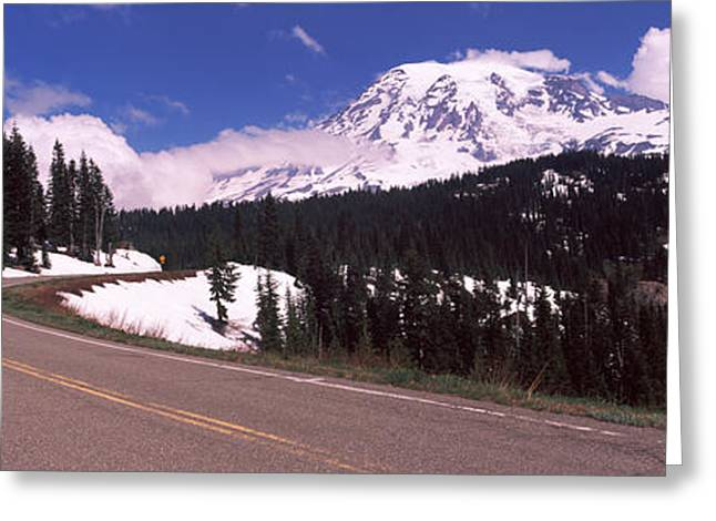 Pierce County Greeting Cards - Road With A Mountain Range Greeting Card by Panoramic Images