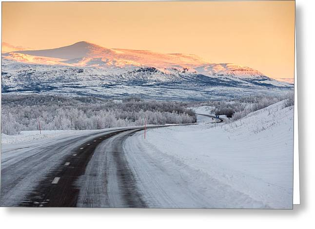 Temperature Greeting Cards - Road With Frozen Landscape, Extreme Greeting Card by Panoramic Images