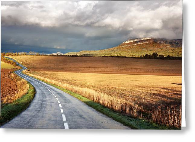 Pais Vasco Greeting Cards - Road With Stormy Clouds Greeting Card by Mikel Martinez de Osaba