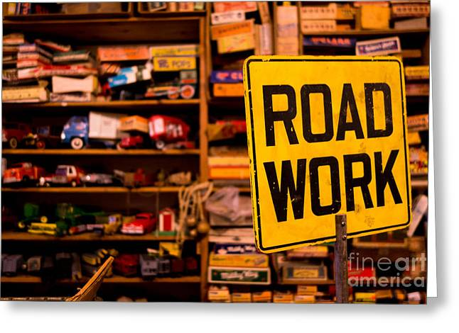 Road Greeting Cards - Road Work Sign Greeting Card by Amy Cicconi