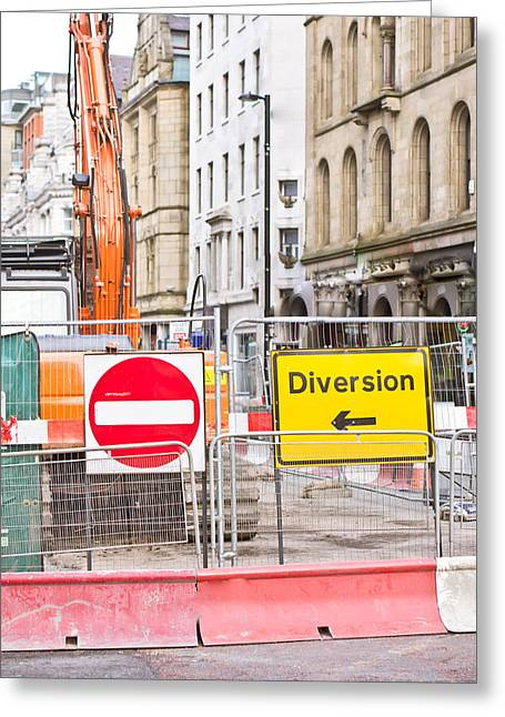 Barriers Greeting Cards - Road works  Greeting Card by Tom Gowanlock