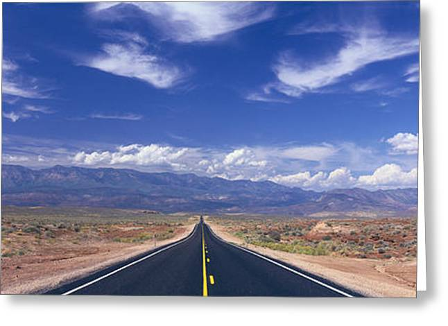 Roadway Greeting Cards - Road Zion National Park, Utah, Usa Greeting Card by Panoramic Images