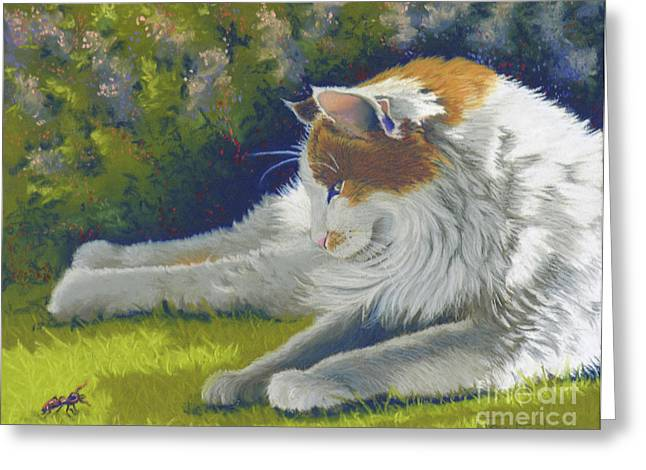 Feline Pastels Greeting Cards - Roadblock - Cat and Bug Greeting Card by Tracy L Teeter