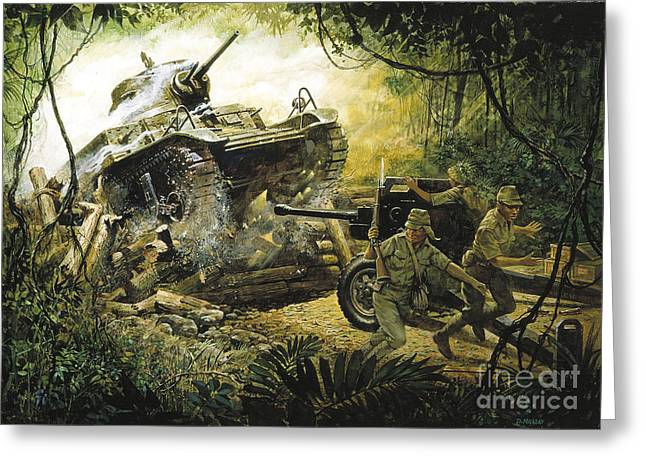 Roadblock Greeting Cards - Roadblock on the road to Bataan Greeting Card by Pg Reproductions