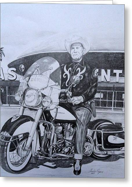 Las Vegas Drawings Greeting Cards - Roadking of Vegas Greeting Card by Charles Rogers