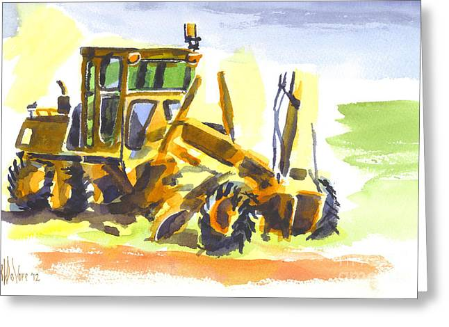 Dozer Greeting Cards - Roadmaster Tractor in Watercolor Greeting Card by Kip DeVore
