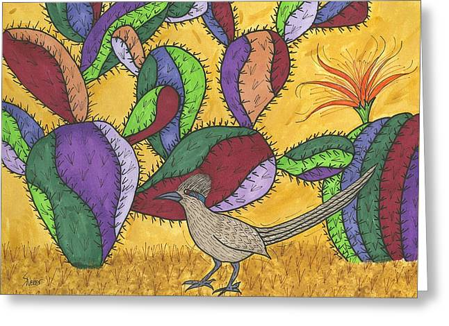 Susie Weber Greeting Cards - Roadrunner and Prickly Pear Cactus Greeting Card by Susie Weber