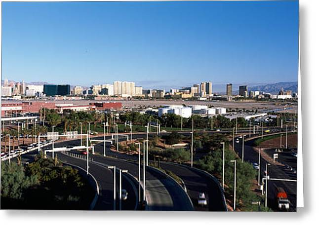 International Photography Greeting Cards - Roads In A City With An Airport Greeting Card by Panoramic Images